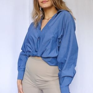Classic oversized men's basic blue button up shirt